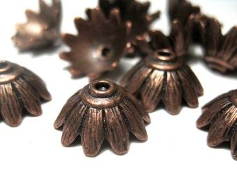 10pcs Antique Copper Bead Caps 15x7mm