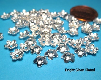 100pcs Bright Silver Plated Flower Bead Caps 6mm