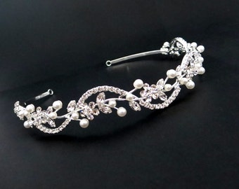 Wedding headband, Bridal headband, Pearl headband, Rhinestone headpiece, Wedding headpiece, Crystal tiara, Swarovski crystal headpiece