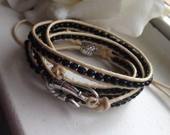 Online Jewelry Designer Inspired 5x Wrap Beaded Bracelet Handmade Unisex Metal Shrimp Charm, Metal Closure - Bohemian Multi Colors Free Ship