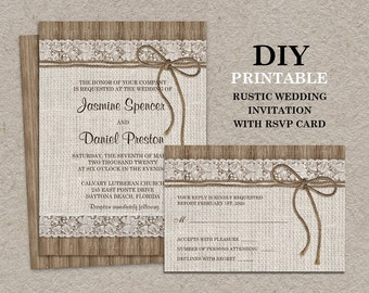 Burlap And Lace Wedding Invitation With RSVP Card, Printable Rustic Wedding  Invitation With RSVP Card