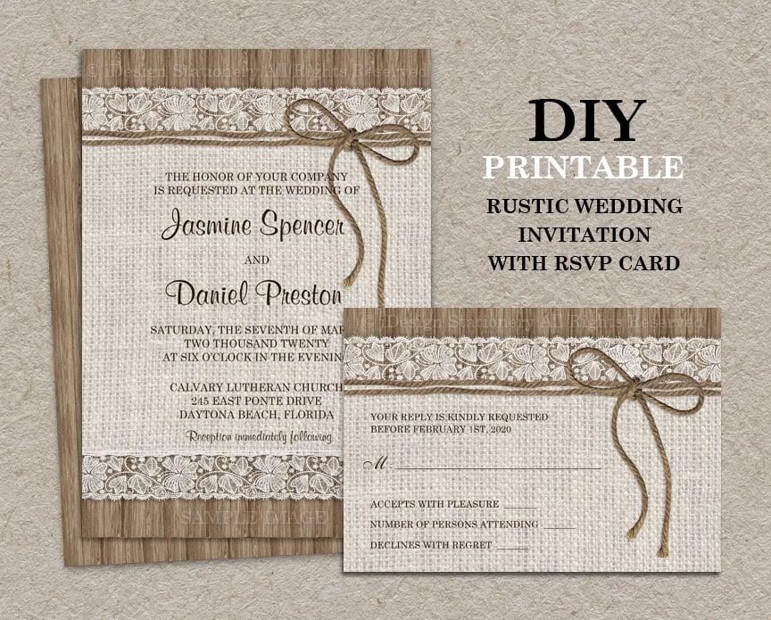 Wedding Invitation Rsvp Card: Burlap And Lace Wedding Invitation With RSVP Card Printable