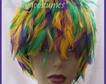 Hackle Feather Wig Costume Wig Gold/ Red/Blue/Turquoise/Purple/White/Orange/Lime Green/Black  (GA,USA)