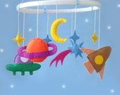 Space Baby crib Mobile-moon mobile-crib mobile-nursery decor-cot mobile- custom mobile-star mobile-Select your color!