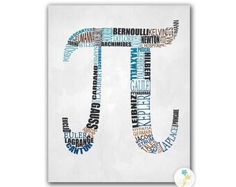Mathematician Pi Typography - Math Notation - Famous Mathematicians - Math Art - Math Poster - Multiple Sizes