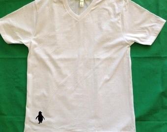 Men's Silkscreened Organic Cotton Fine Jersey Short Sleeve V-Neck Penguin LARKSHAPES Tee