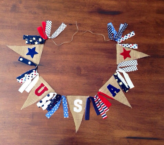 USA Burlap Banner/ Fourth of July Banner