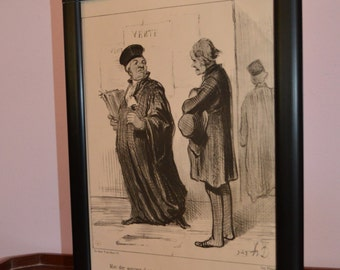 Antique Honore Daumier the Great French Cariacturst