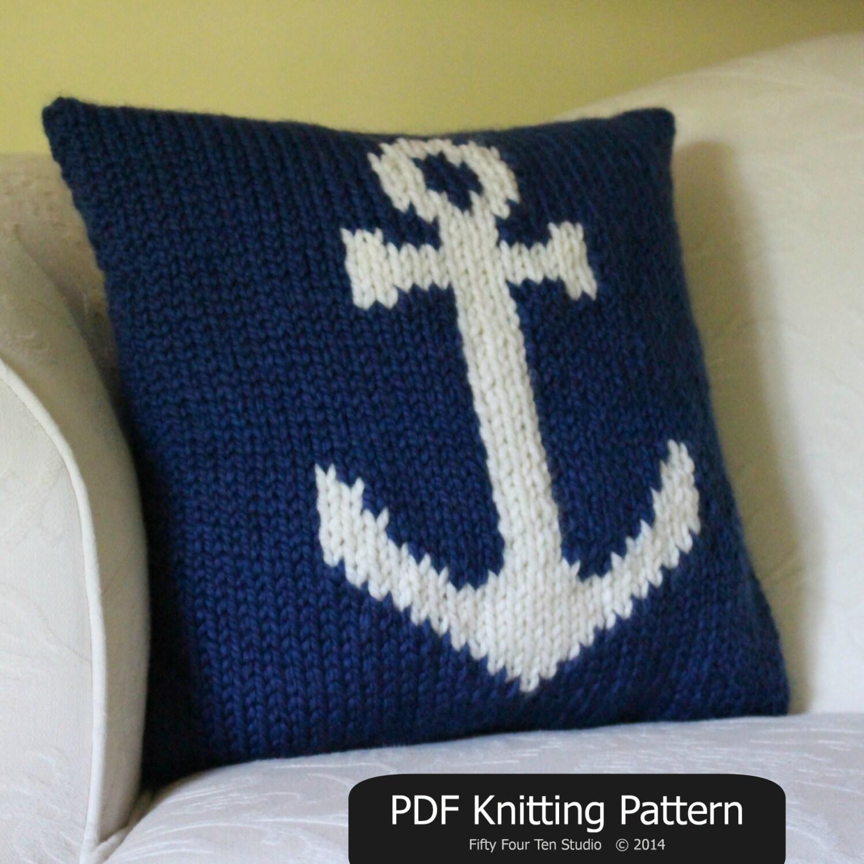 Pillow KNITTING PATTERN / Cushion / Anchor / Nautical / Quick