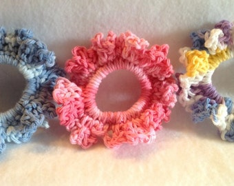 Crochet Hair Scunchie, Hair Tie Back/ girls, teens, ladies- you pick the color!