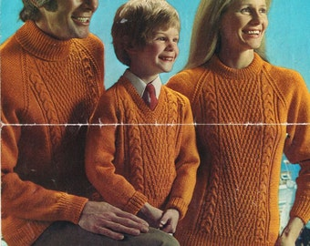 Bellmans 1366 family aran style jumper  vintage knitting pattern PDF instant download