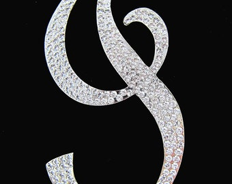 "Crystal Rhinestone Covered Silver Monogram Wedding Cake Topper Letter ""I"""