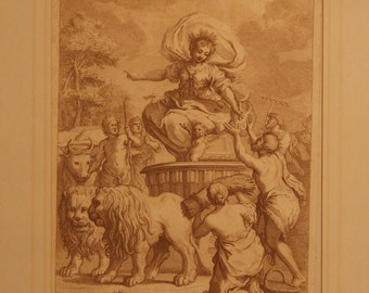 Pietro da Cortona antique 18c etching print Triumph of Ceres after by Giuseppe Zocchi c1760 Freight extra cost