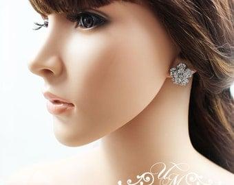 Wedding Jewelry Bridal Earrings Bridesmaids Earrings Rhinestone Rose Crystal Earrings Stud - ROSE