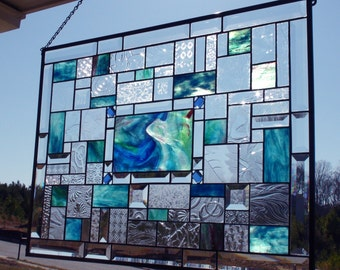 Grandeur of the Seas -  Gorgeous Stained Glass Panel with blue/green hues, jewels and beautiful bevels