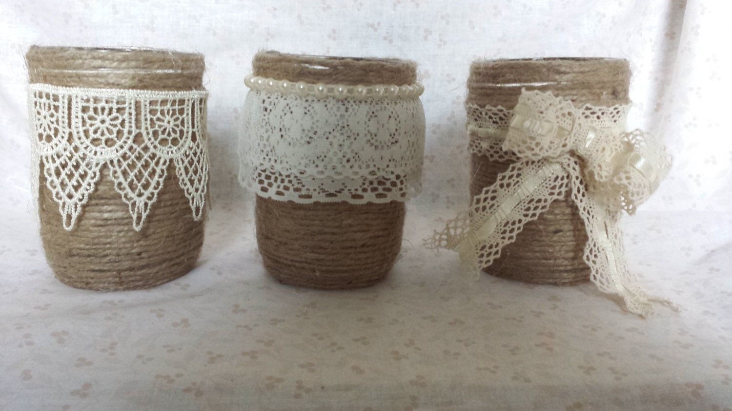 Set of Three Twine Wrapped Jars. mason jar. by ...