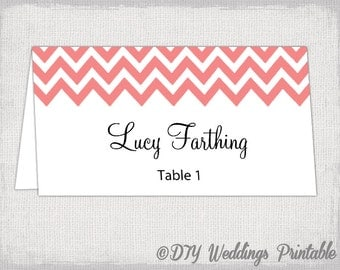 "Place card template ""Chevron"" Coral name cards -DIY wedding printable place cards -Tent table cards YOU EDIT Word / Jpg Avery 5302 download"