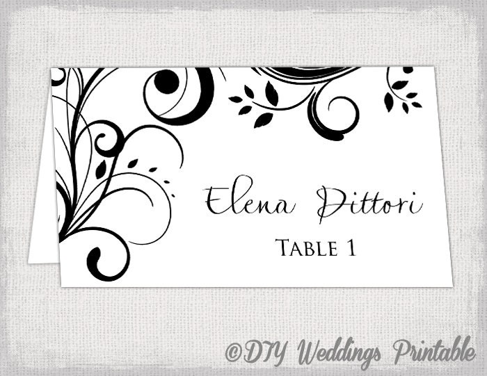 Name card template Black Scroll place by diyweddingsprintable