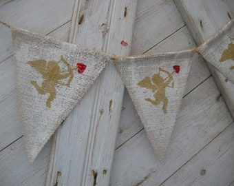 Valentines Day Banner, Valentines Day Bunting, Valentines Decor, Cupid Banner, Burlap Banner, Valentines Garland, Rustic, Burlap, Cupid