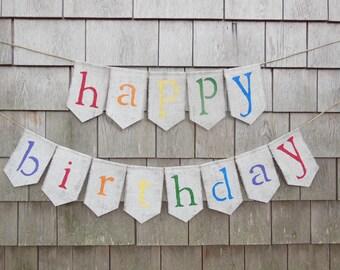 Happy Birthday Burlap Banner, Birthday Bunting, Birthday Garland, Birthday Decor, Burlap Banner, Rustic, Photo Prop, Gender Neutral