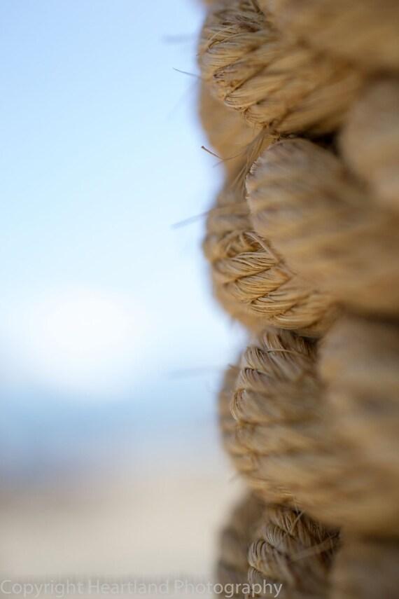 Macro Nautical Rope, Beach Landscape, Abstract Ocean Print, Beige Rope, Blue Sky, Macro Photography, 5x7, 8x10, 10x13, 11x14, Ocean Photo