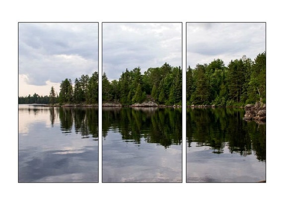 BWCA Triptych, Canvas Gallery Wraps, Boundary Waters, Three Panel Art, Split Canvas, Cloud Photography, Green and Grey, Lake Photo Canvas