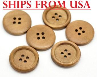 "100 Medium Brown 1"" Wood Buttons  25mm Wooden Button Wholesale Buttons Bulk Wood Wood Buttons 1"" Wood Button Brown Buttons Inch Button"
