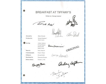 Breakfast At Tiffany's Movie Signed Script Screenplay Autographed Audrey Hepburn, George Peppard, Patricia Neal, Buddy Ebsen