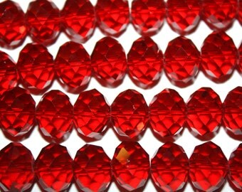Red Faceted Rondelle Crystal Glass Beads - 14x10mm - 25ct - D255