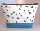 Cosmetic Bag with Monochrome Bird Print and Teal Cotton