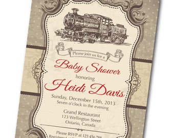 Vintage Train Baby Shower Invitation. Train Toy. Retro Baby Boy Shower Invite. Any custom color. DIY digital printable.