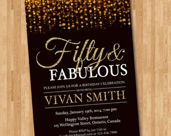 50th birthday invitation for women. Fifty and fabulous. Golden 50. Gold Glitter Glam Birthday Invite.Any age. Printable digital DIY.