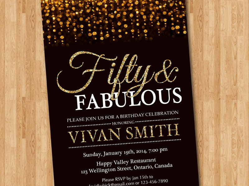 50th birthday invitation fifty fabulous invite golden gold printable request something order custom