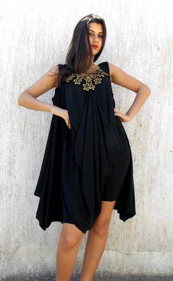 loose black jumpsuit dress / plus size loose dress jumpsuit