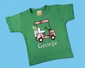 Boy's Golf Shirt with Plaid Golf Cart and Embroidered Name