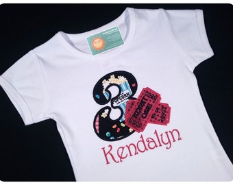 Girl's Hollywood Movie Birthday Shirt with Embroidered Name