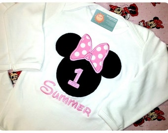 Baby Girl Mouse Head Pink Dot Bow Bodysuit with Name and Number