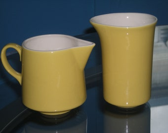 Atomic Vintage Retro Butter Yellow Creamer & Milk Dish Set - Perfect For Your Morning Coffee!!!
