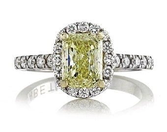 Yellow Diamond Engagement Ring 1.07ct Fancy Radiant Cut GIA Certified Diamonds 18Kt White Gold Halo Engagement Ring Pristine Custom Rings
