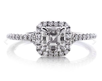 Asscher Cut Diamond Engagement Ring .73ct Center  .21ct Round Natural Diamonds Halo Wedding Anniversary Ring 18k Gold Pristine Custom Rings