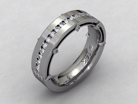 Mens Wedding Band 14kt White Gold Mens By PristineCustomRings