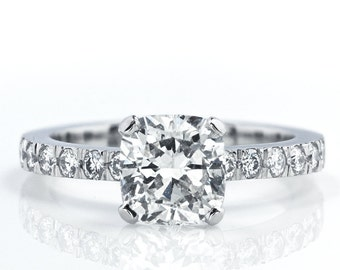 Cushion Cut Engagement Ring with Side Stones (Novo style)