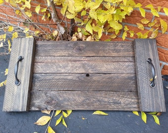 Dark Stained Wood Pallet Serving Tray