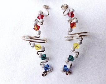 Small Gold Wire Rainbow EarCuffs, pair or single, Stardust Silver Beads and Swarovski Crystals, totally comfortable, no piercings needed