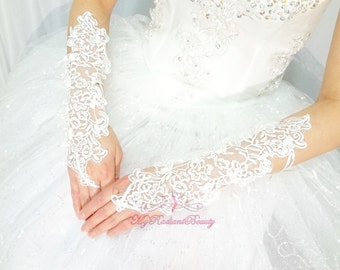 Wedding Gloves, French Lace Gloves, Long Design Full Lace Cute Fingerless Gloves, Bridal Gloves, Wedding Accessory, MyRadiantBeauty BG0013