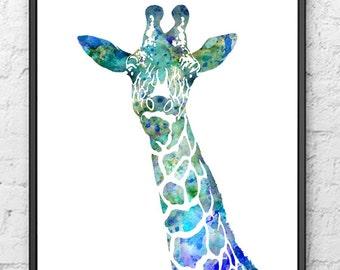 Blue Giraffe Watercolor Painting, Animal Art, Watercolor Print, Children's Wall Decor, Kids art Print, Kids Room Decor - 127