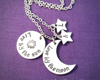 Hand stamped moon sun and stars necklace, live by the sun, love by the moon, moon jewelry, sun necklace