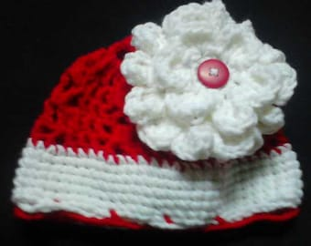 Red And White Flower Hat