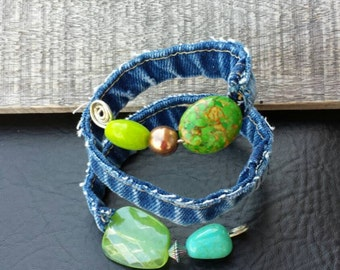 Upcycled one of a kind recycled denim and green bead wrap bracelet