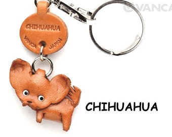 Chihuahua 3D Leather Dog Keychain Keyring Purse Charm Zipper pull Accessory *VANCA* Made in Japan #56716  Free Shipping